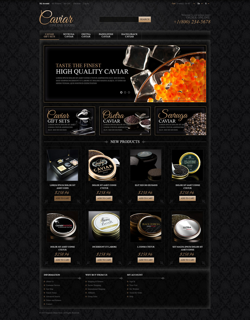 Responsive Caviar Store Magento Theme New Screenshots BIG