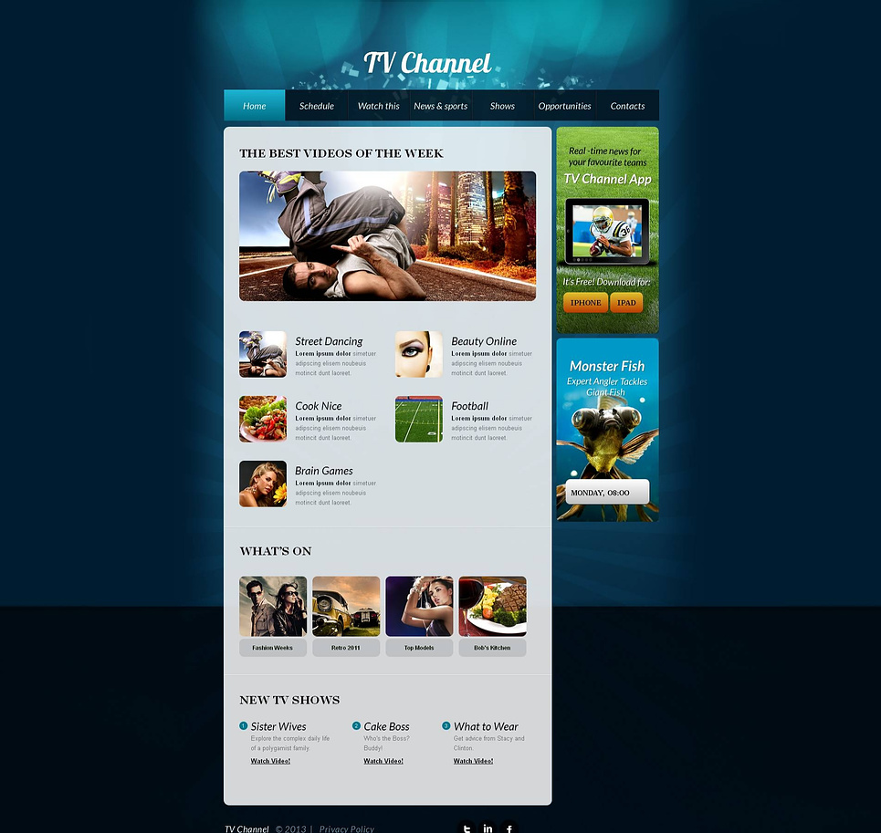 TV Channel Website Template with Blue Background - image
