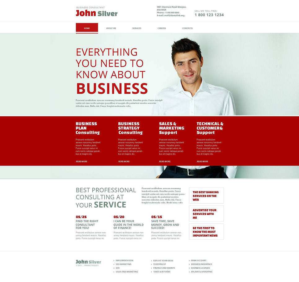 Red and White Website Template for a Business Consultant - image