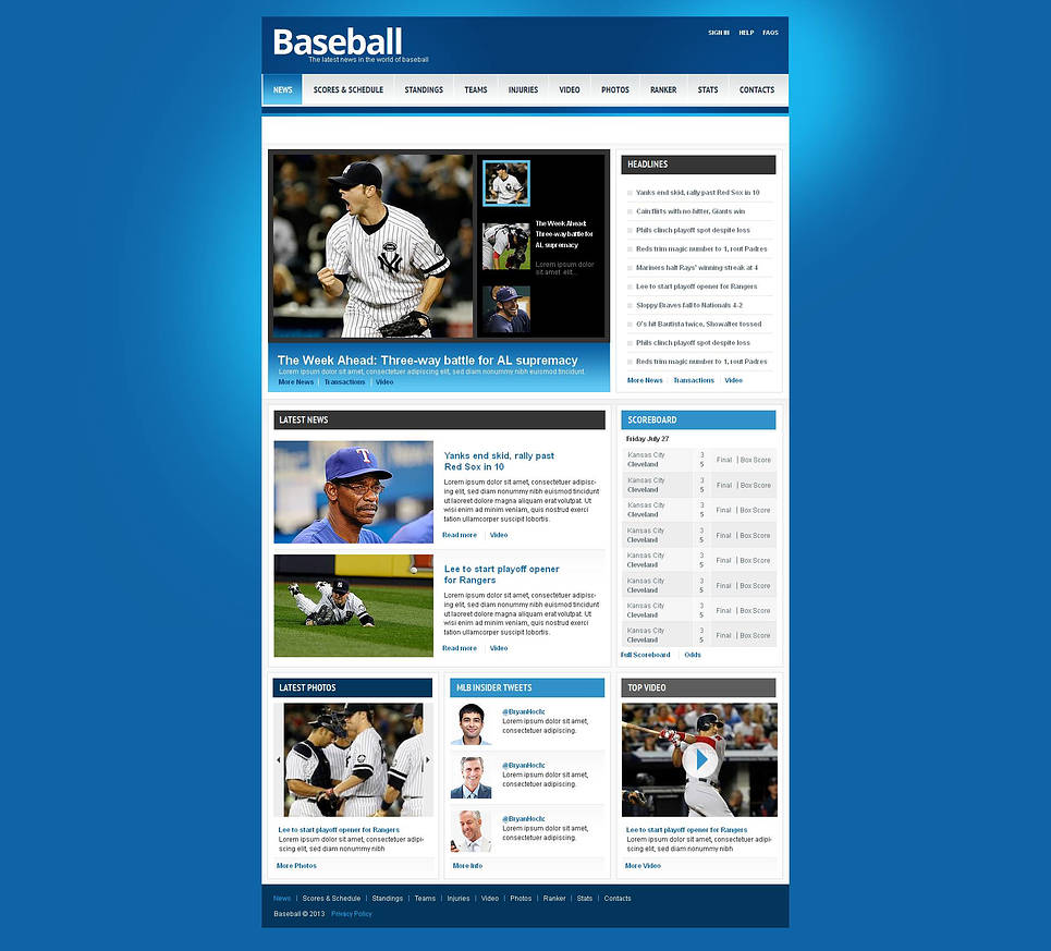 Baseball Website Template with Scores and Schedule Table - image