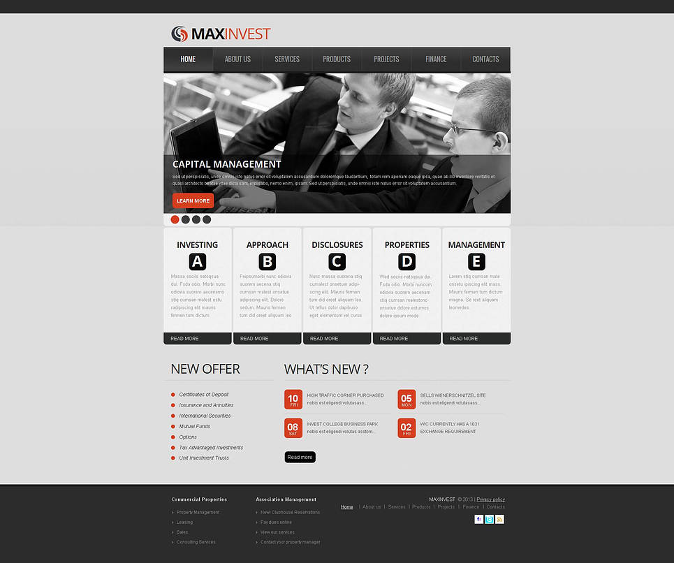 Investment Fund Website Template with Gray Background - image