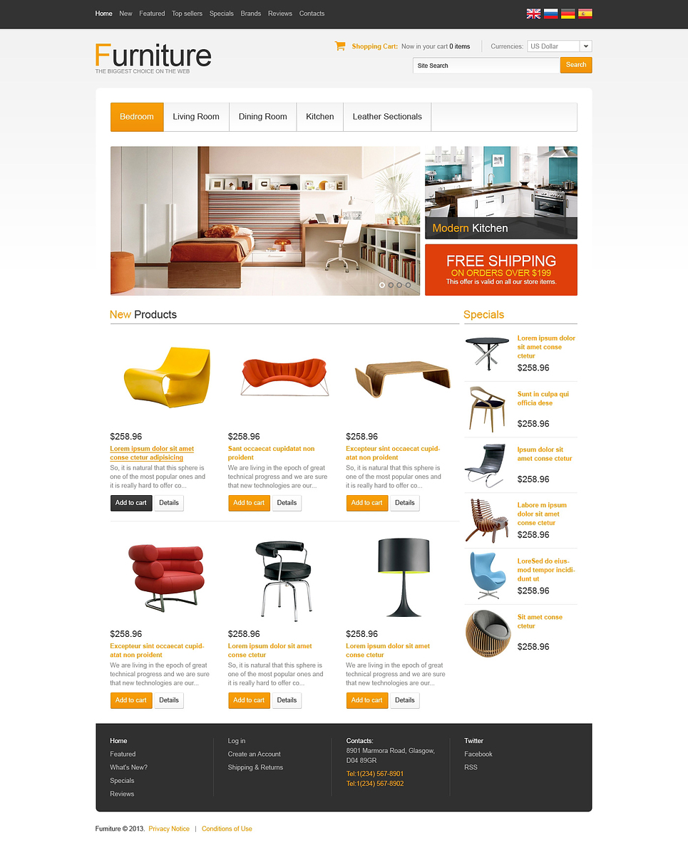 Fair Background Template For Comfort Furniture OSCommerce Template