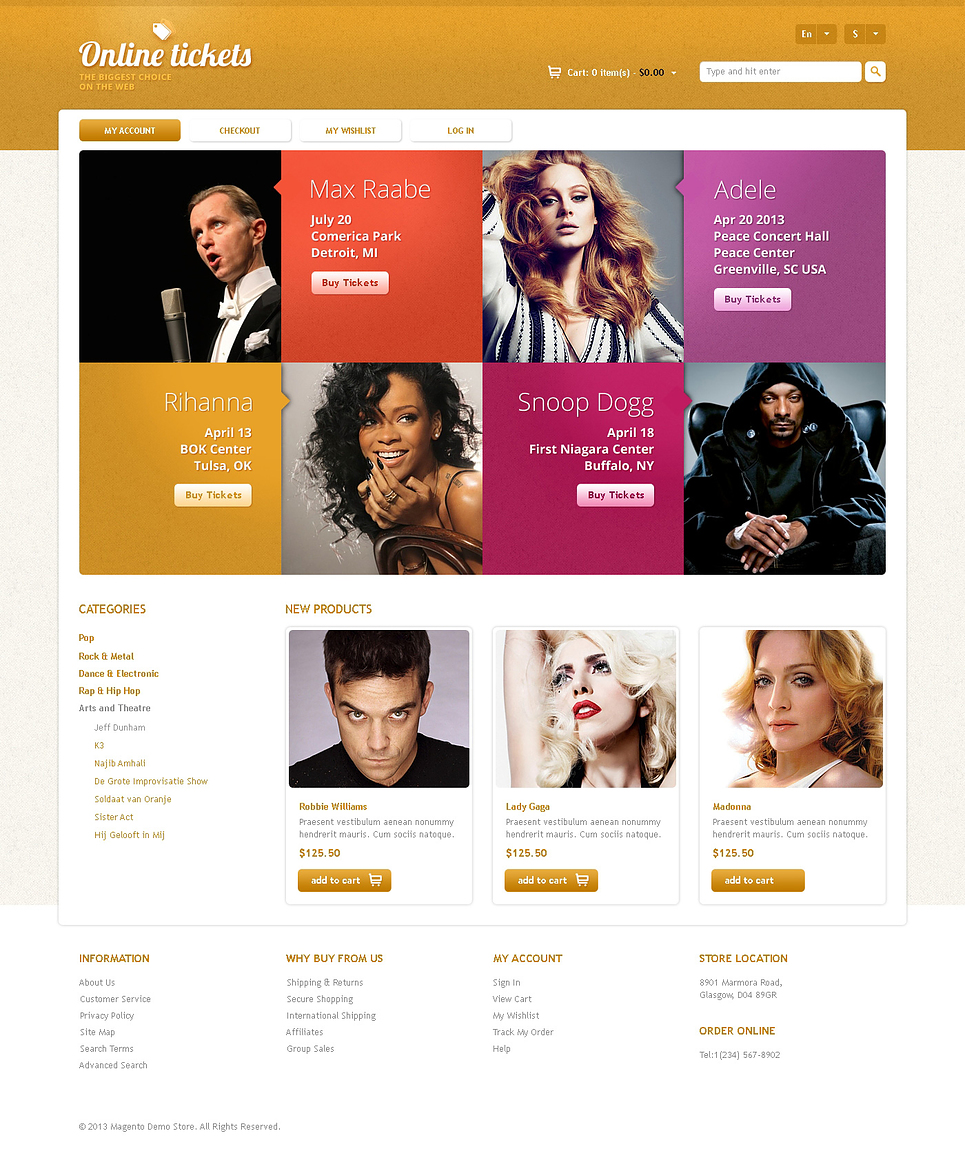Responsive Online Tickets Store Magento Theme New Screenshots BIG
