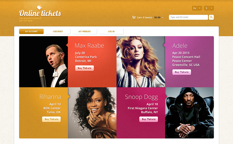 Online Tickets Store Magento Theme New Screenshots BIG