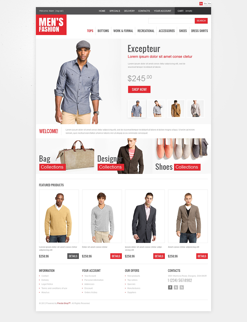 Men 39 S Fashion Oscommerce Template Web Design Templates