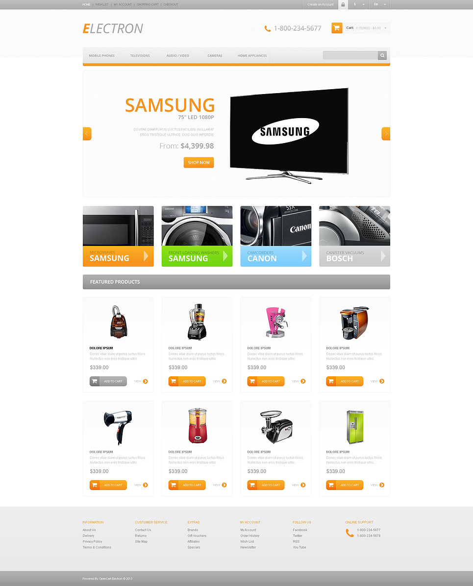 responsive electronics store opencart template web design templates website templates. Black Bedroom Furniture Sets. Home Design Ideas