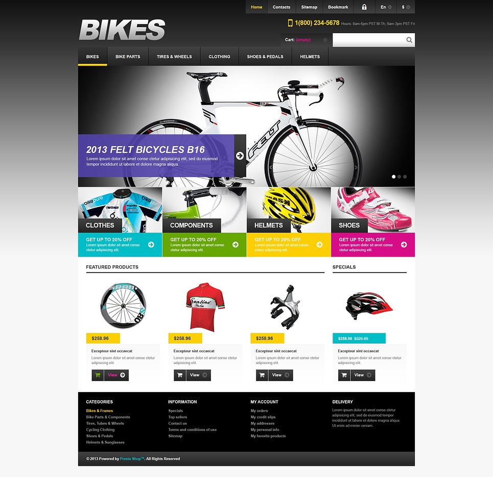 Attractive Responsive Bikes Store PrestaShop Theme
