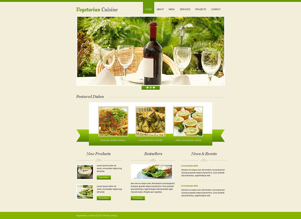 Vegetarian Restaurant Web Template with Light Green Design Elements - image