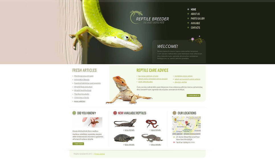 Reptile Breeder Website Template with a Photographic Header - image