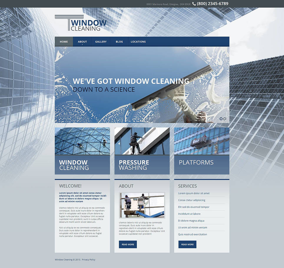 Window Cleaning Website Template with a Background Photo - image