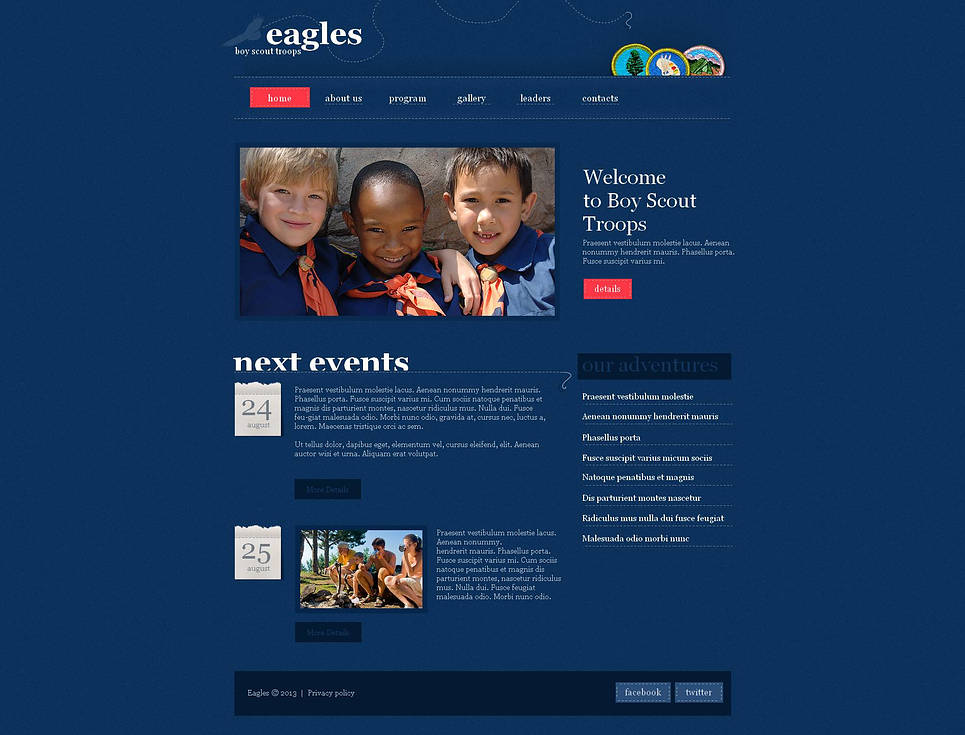 Blue Website Template for Boy Scout Troops - image