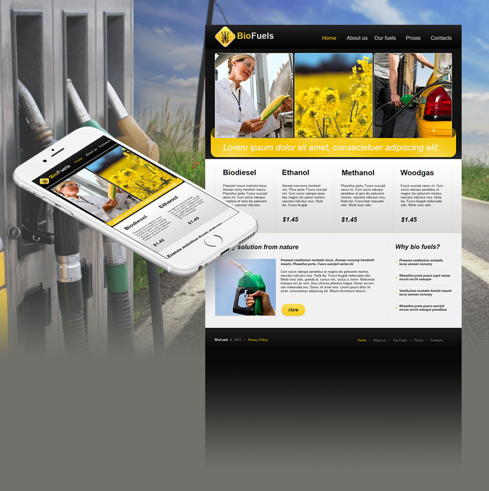 Biofuel Website Template with Three-Column Image Slider - image