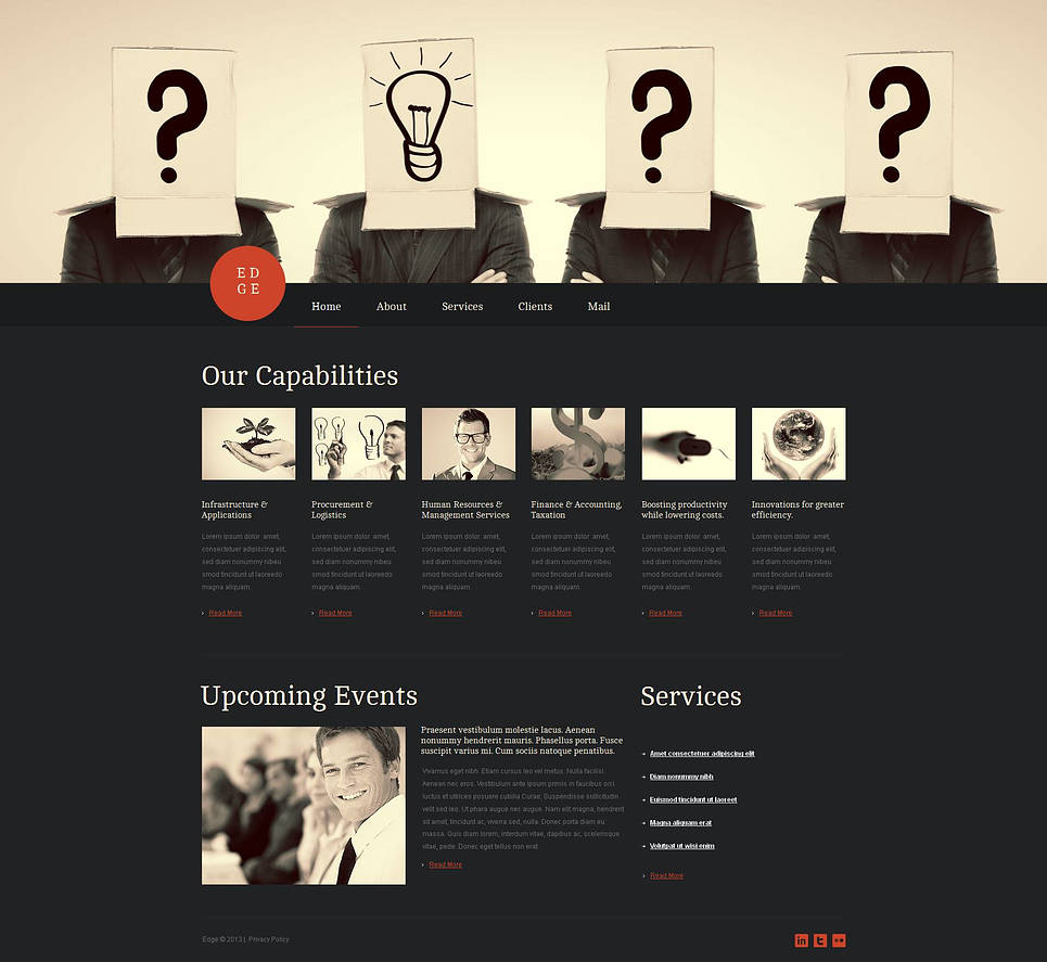 Black Business Website Template with jQuery Slider - image