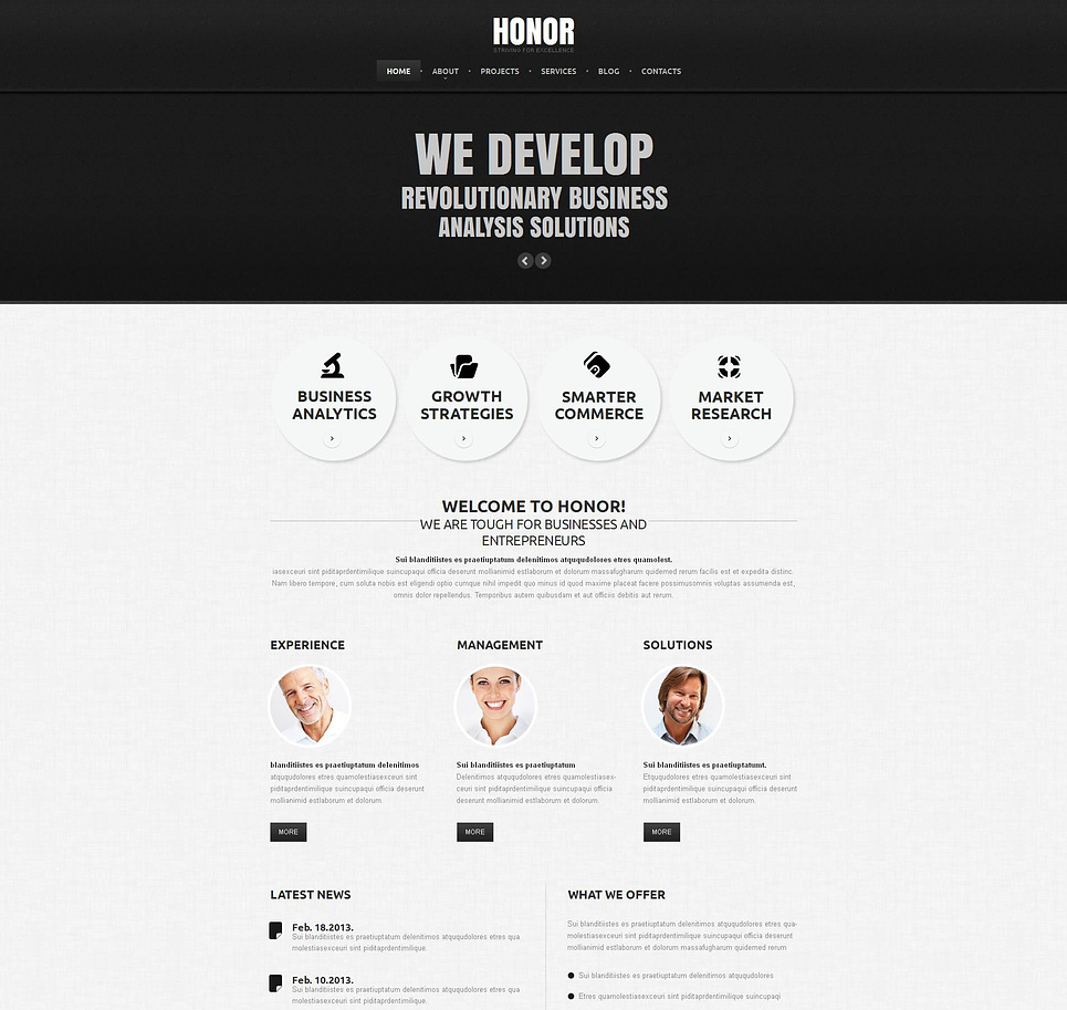 Black and White Marketing Web Template with Circular Design Elements - image
