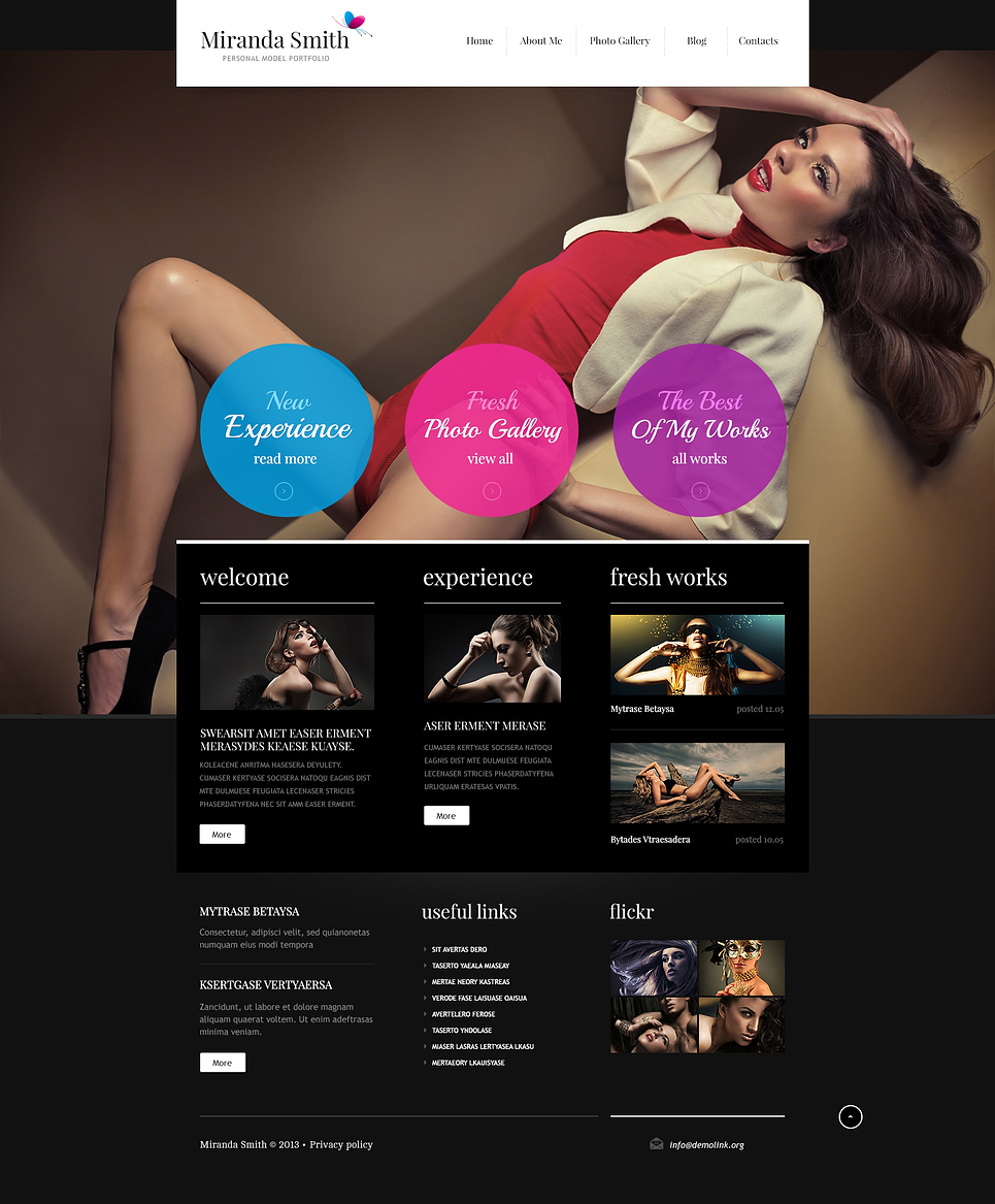fashion model portfolio joomla template 45815. Black Bedroom Furniture Sets. Home Design Ideas
