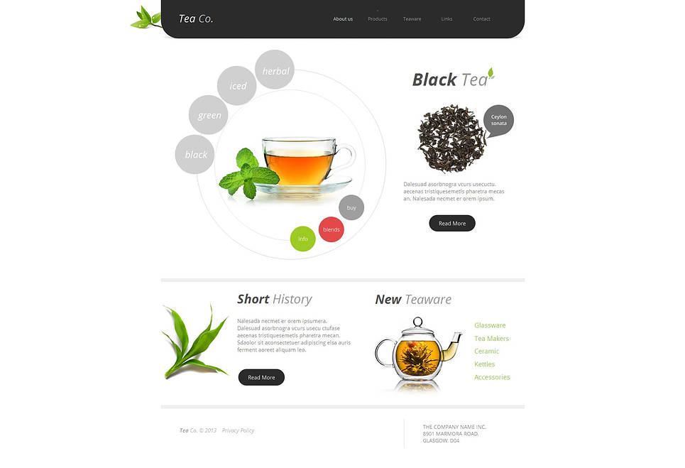 Tea And Teaware Website Template with Circular Menu - image