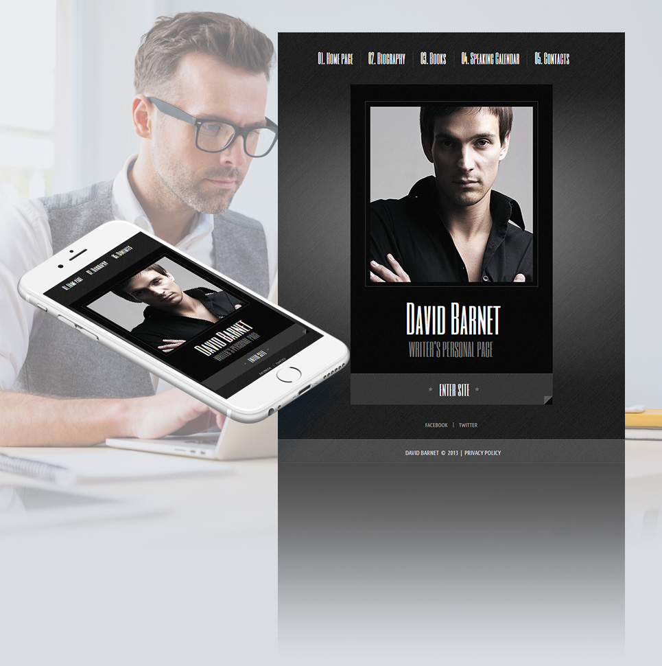 Personal Page Website Template with a Book Style Layout - image