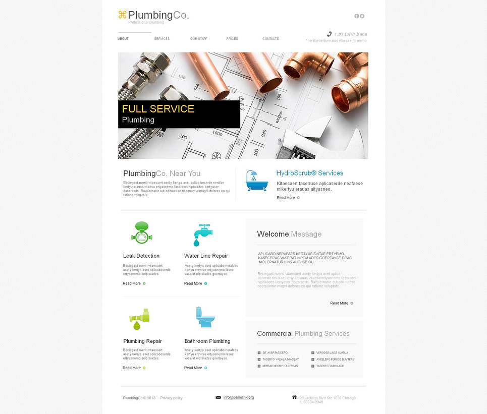 Plumbing Website Template Designed with Light Tones - image