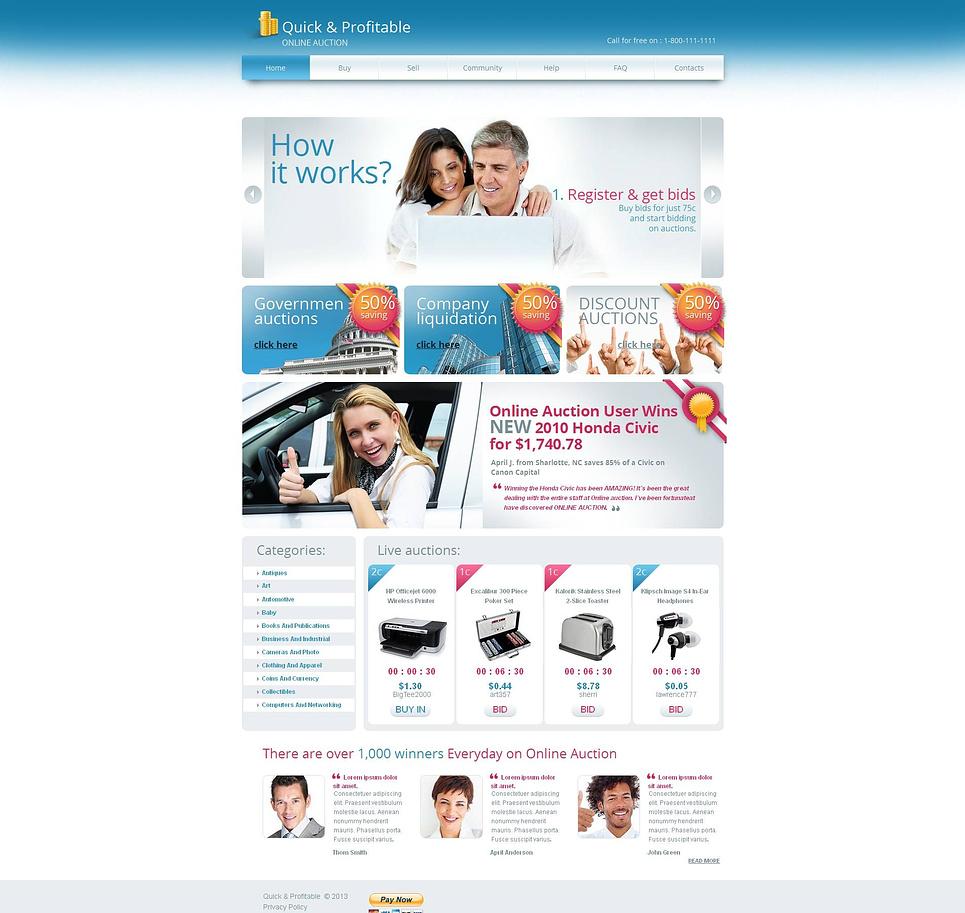 MotoCMS HTML Plantilla #45906 de categoría Subasta - image