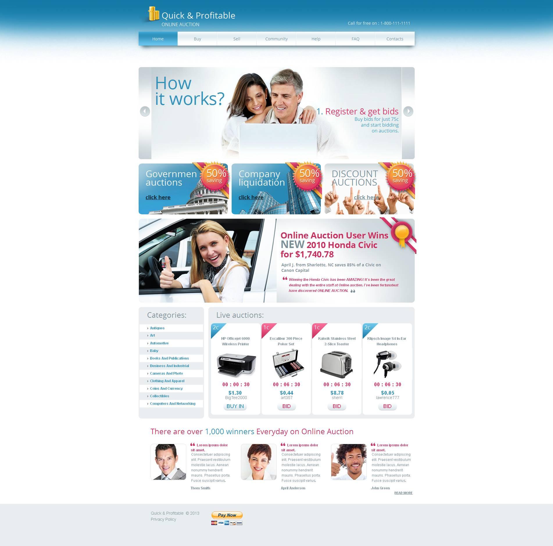 bidding website templates free 2018
