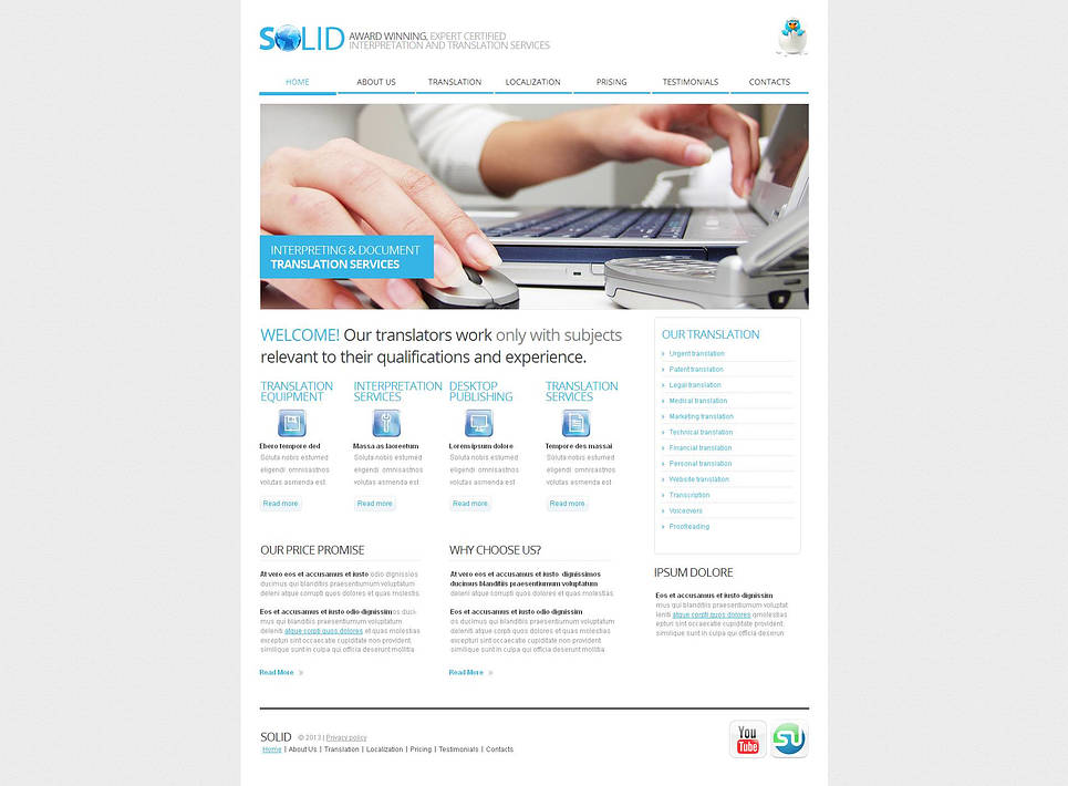 Translation Bureau Website Template with jQuery Content Slider - image