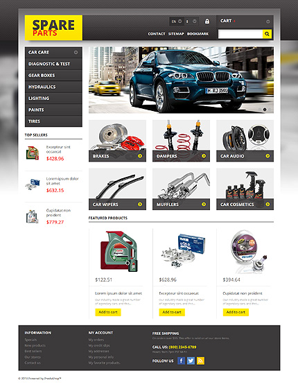 Spares For Any Car - Bootstrap Based Responsive Prestashop Cars Bike Store Theme