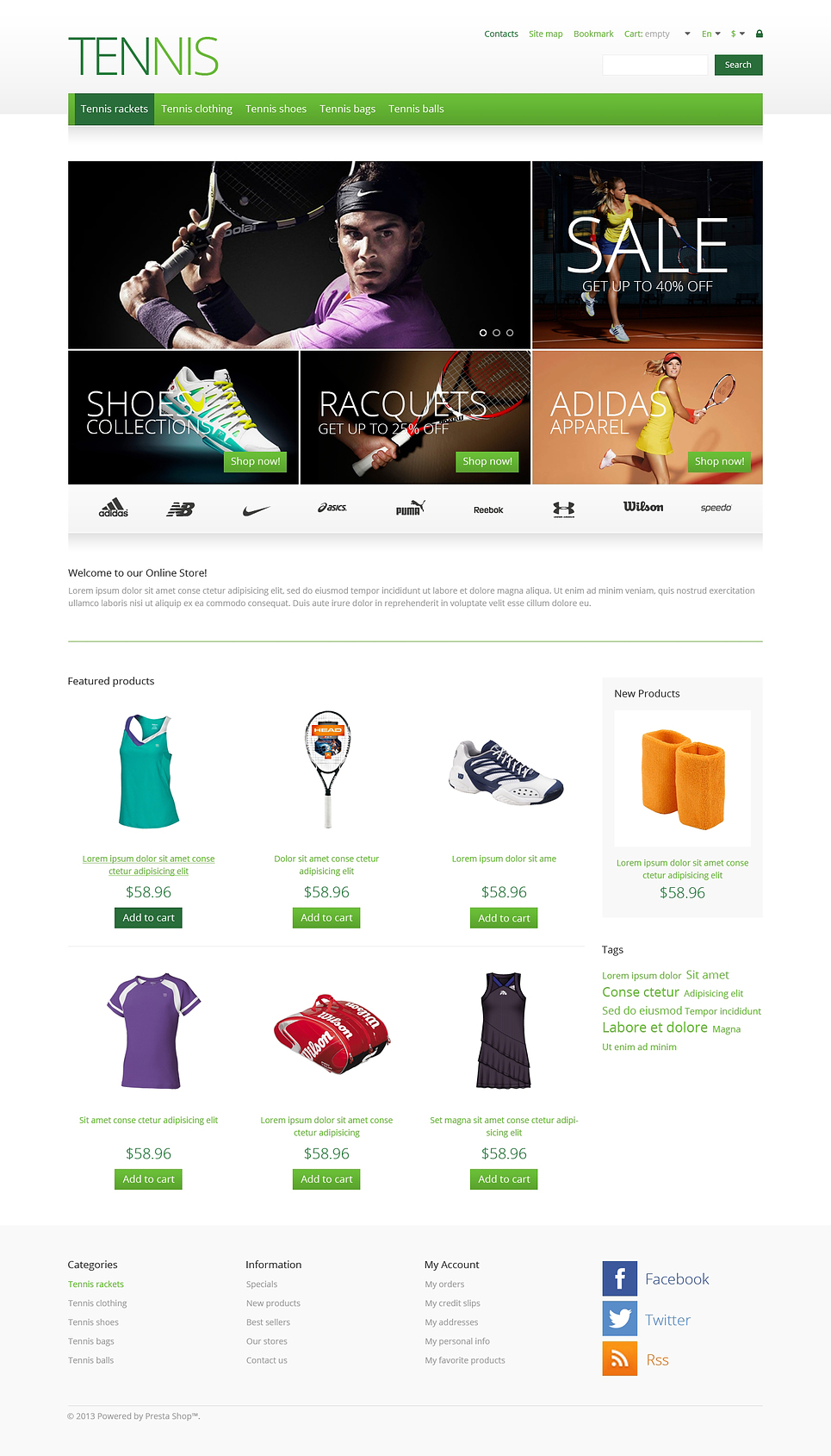 Beautiful Responsive Tennis Store PrestaShop Theme