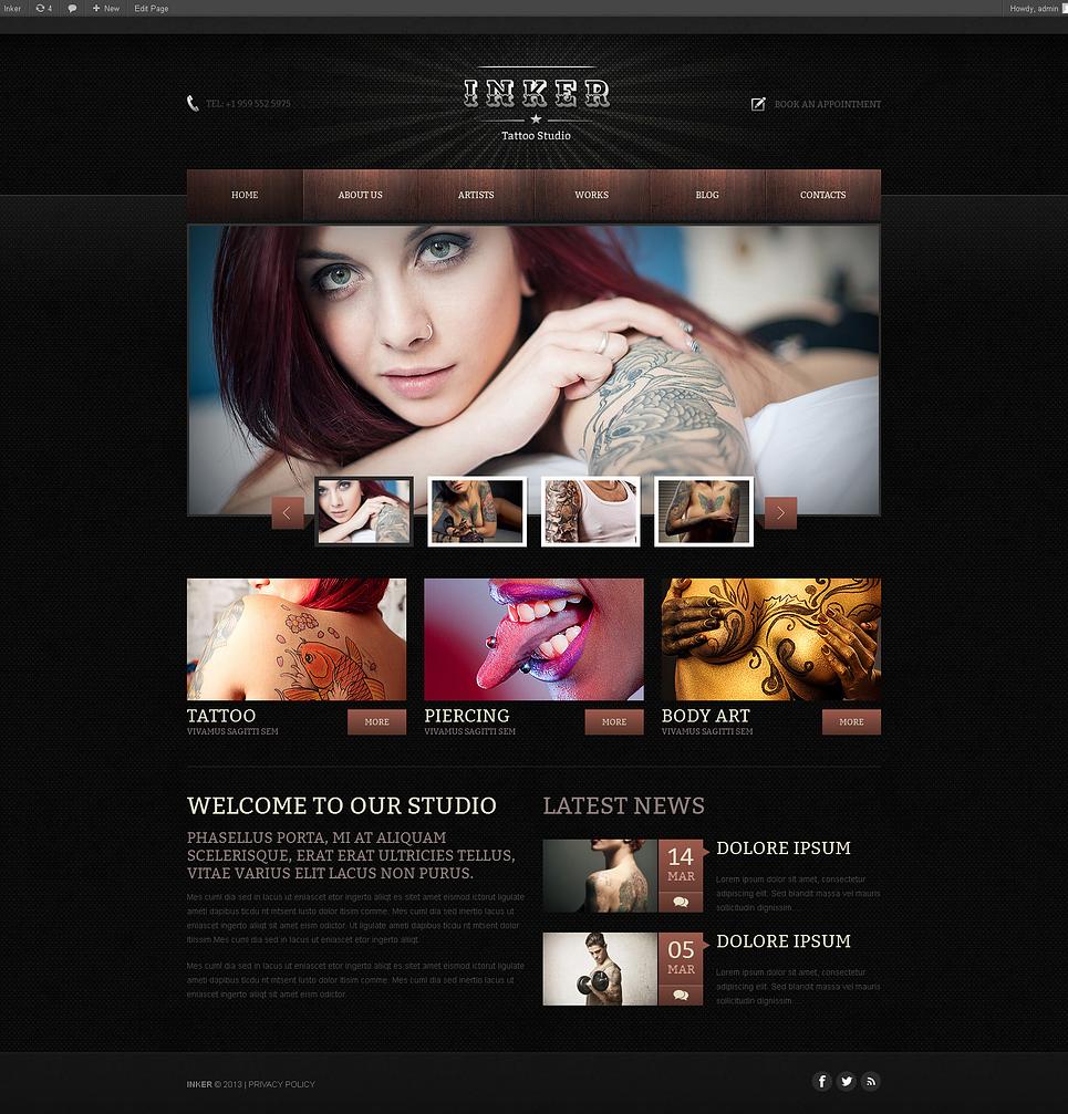 Tattoo Salon Responsive WordPress Theme - Web Design Templates ...