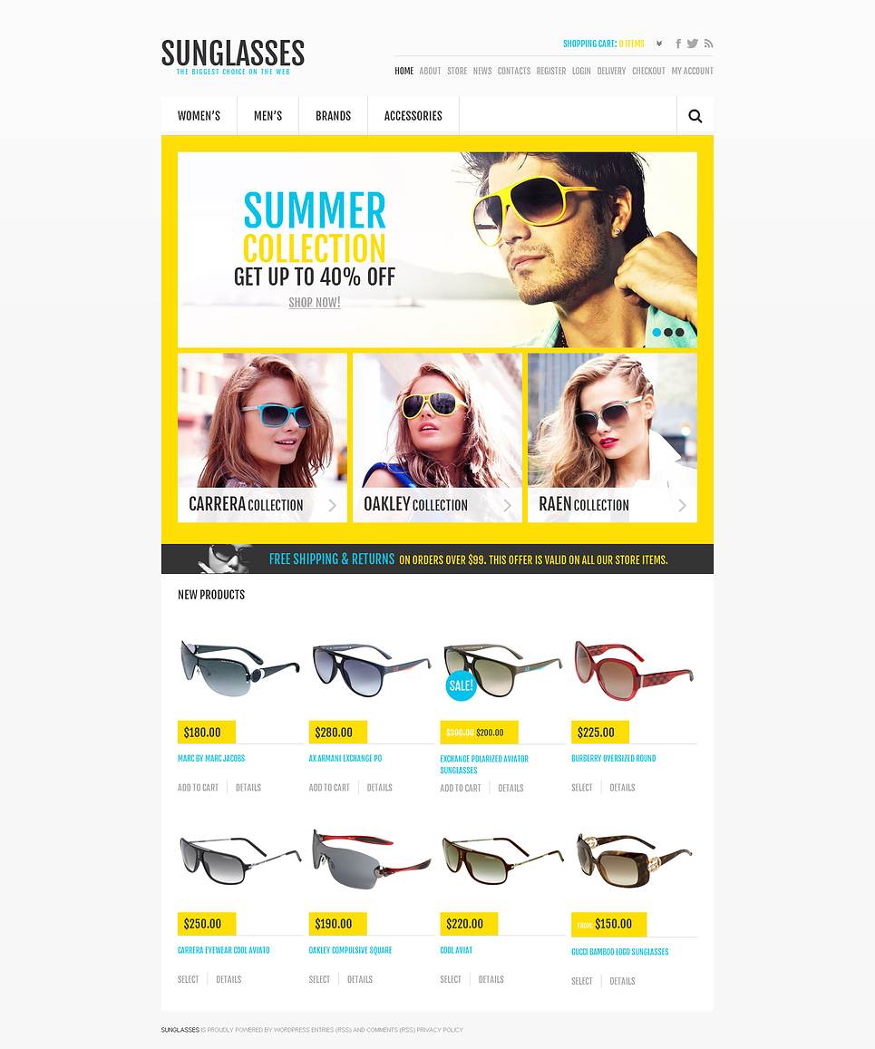 Sunglasses - Trendy Responsive Sunglasses Store Jigoshop Theme