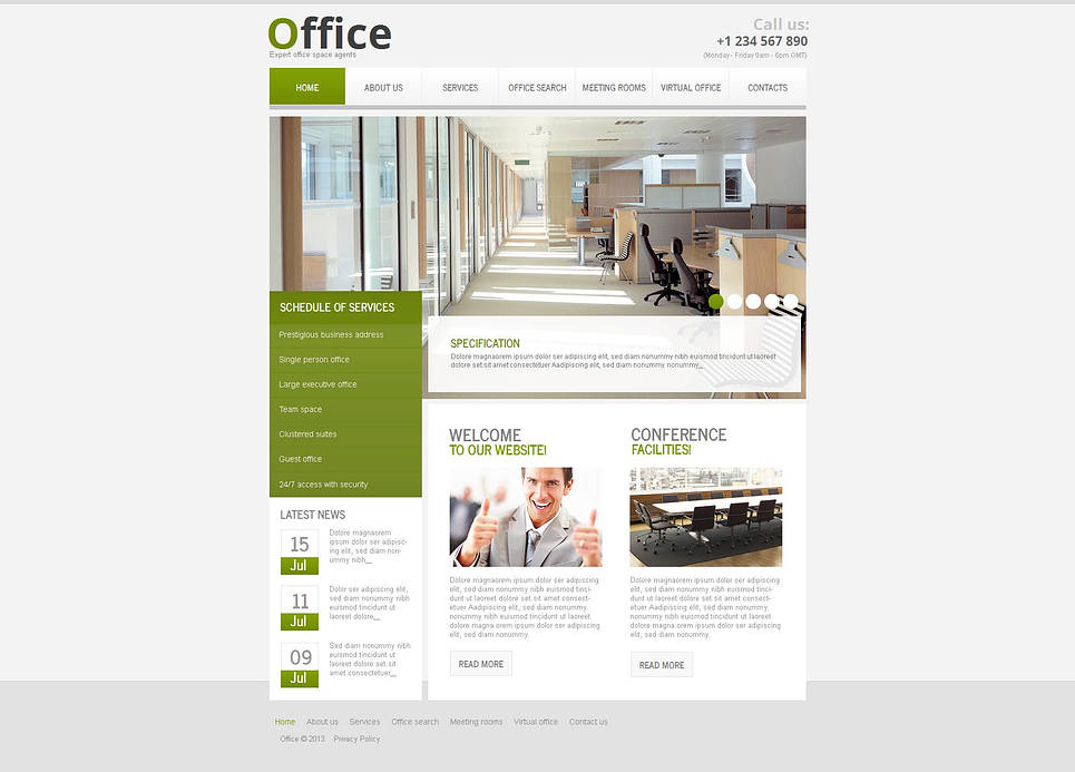 Business Website Template with Rich Green Elements - image