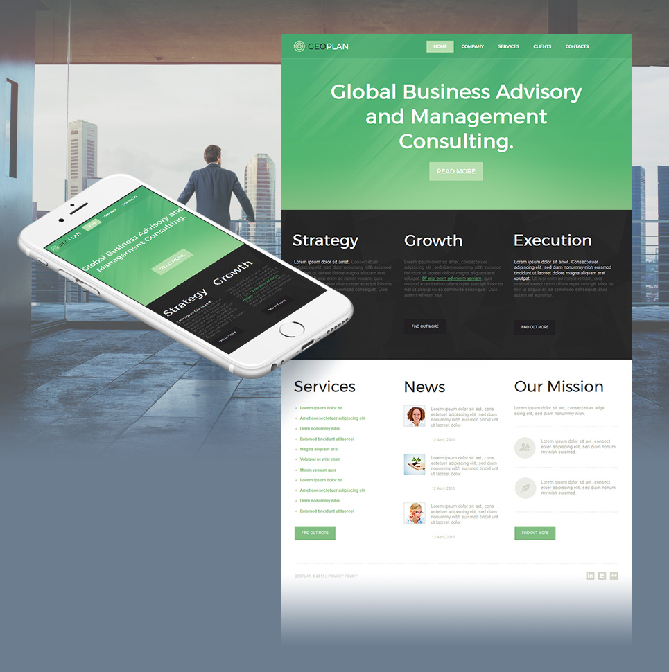 Three-Colors Business Website Template - image