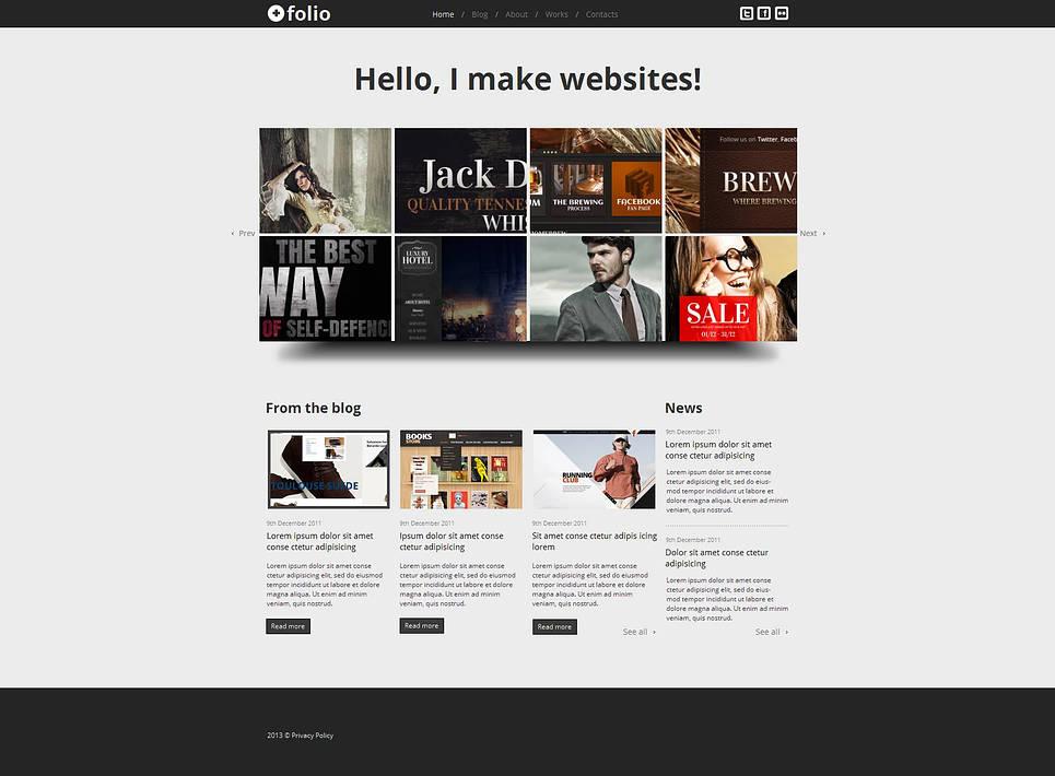 Website Template with Grid-Based Image Slider for Web Designers - image