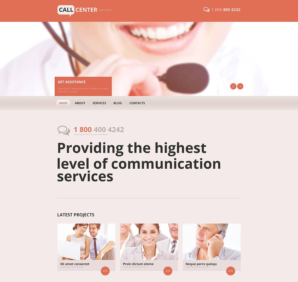 Content-Rich Website Template for Call Centers - image