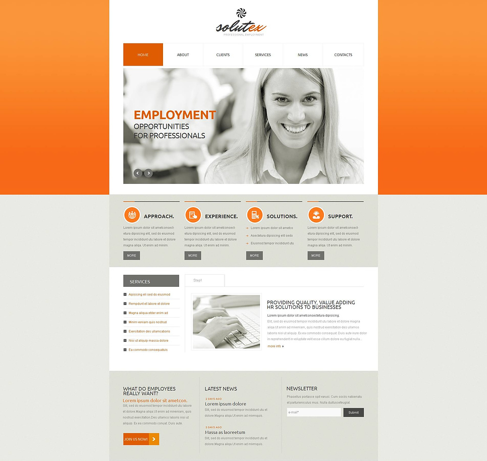 Employment Agency Website Template in Gray and Orange Colors - image