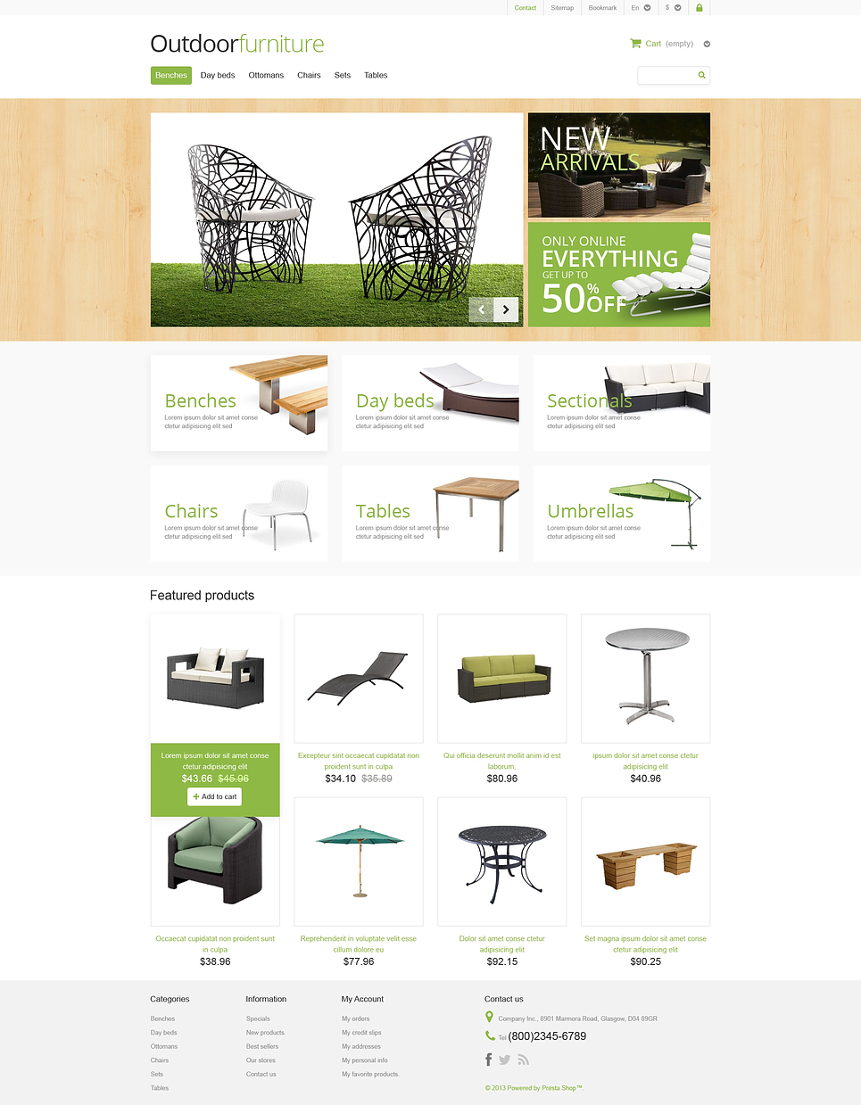 Exclusive Responsive Outdoor Furniture Store PrestaShop Theme