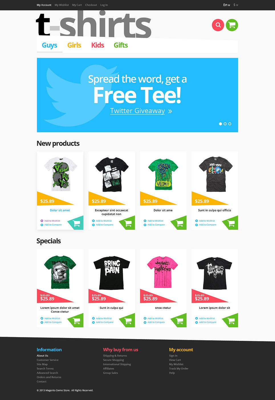Responsive T-Shirts Store Magento Theme New Screenshots BIG