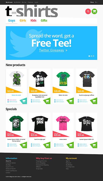 T-shirts - Stylish T-Shirts Store Magento Theme