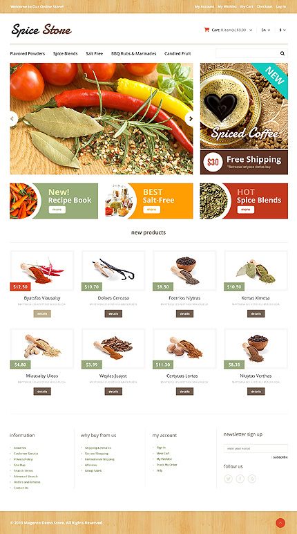 Spices shop - Peppery Spice Store Magento Theme
