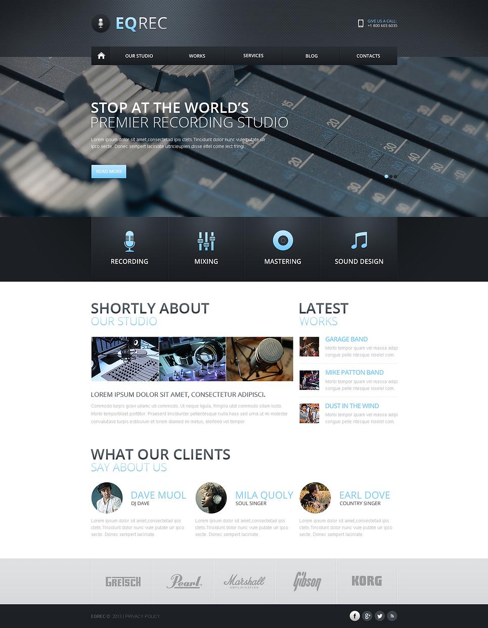 recording studio responsive website template web design templates website templates download. Black Bedroom Furniture Sets. Home Design Ideas