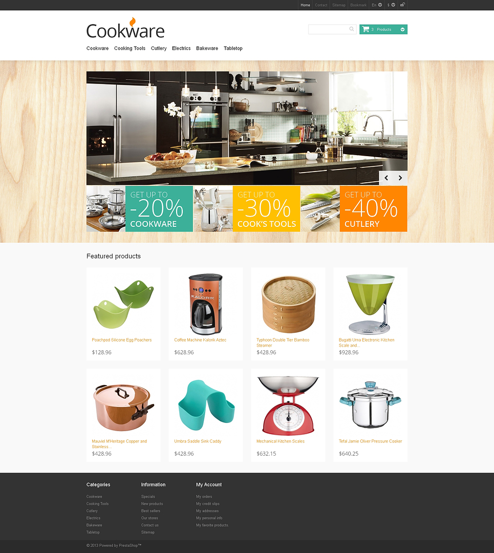 Perfect Responsive Cookware Store PrestaShop Theme