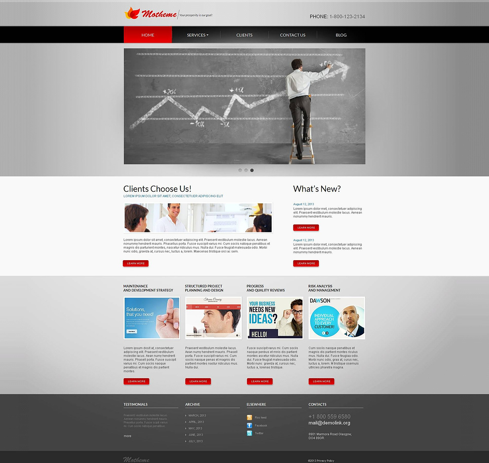 Gray Marketing Website Template with Red Accents - image