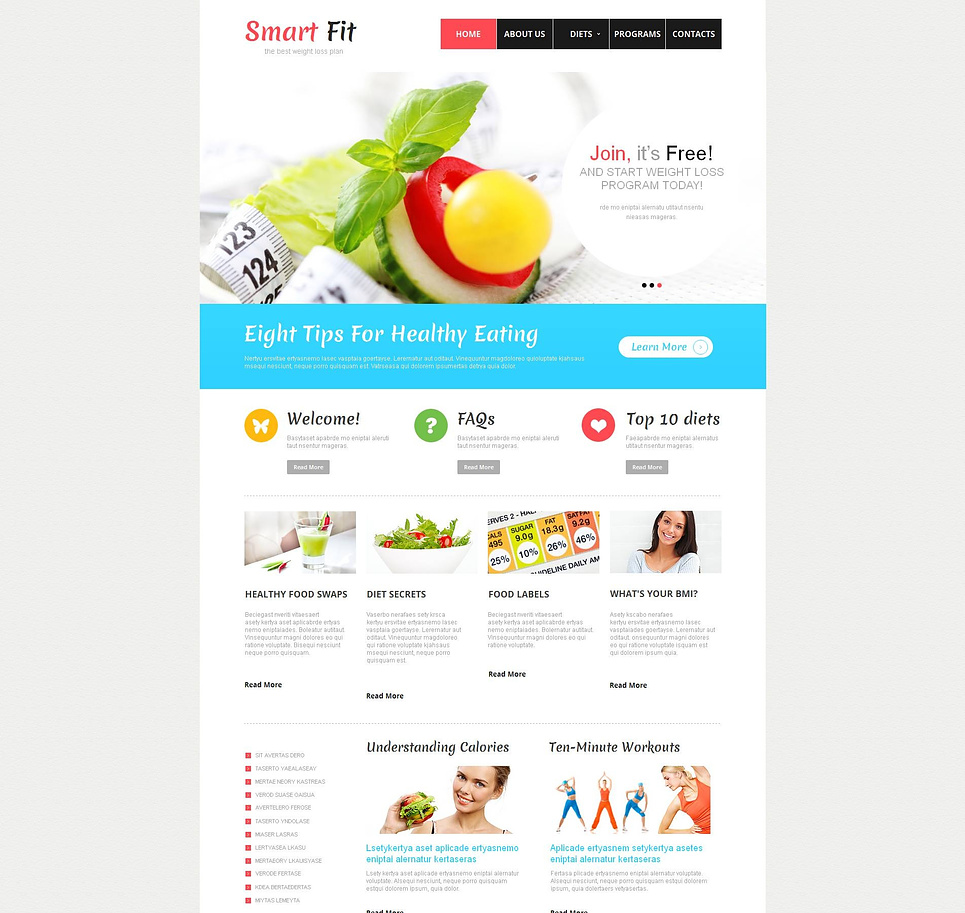 Weight Loss Website Template with Drop-Down Menu - image
