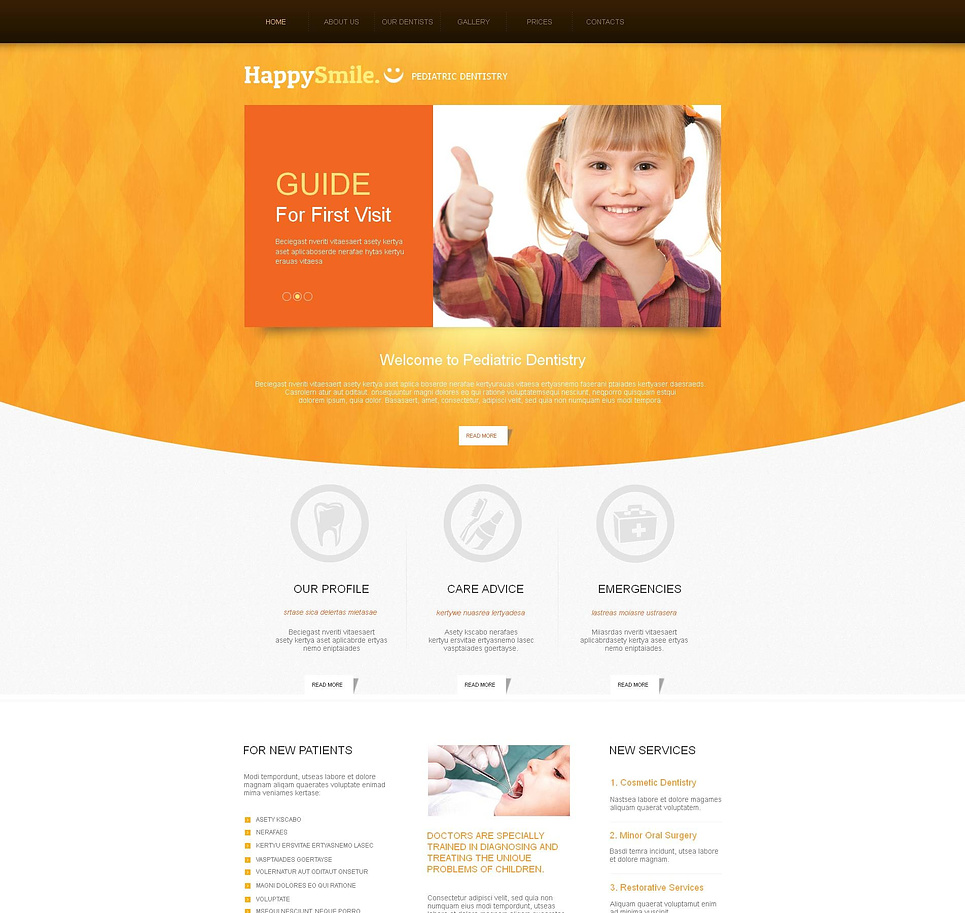 Pediatric Dentistry Website Template with Orange Header - image