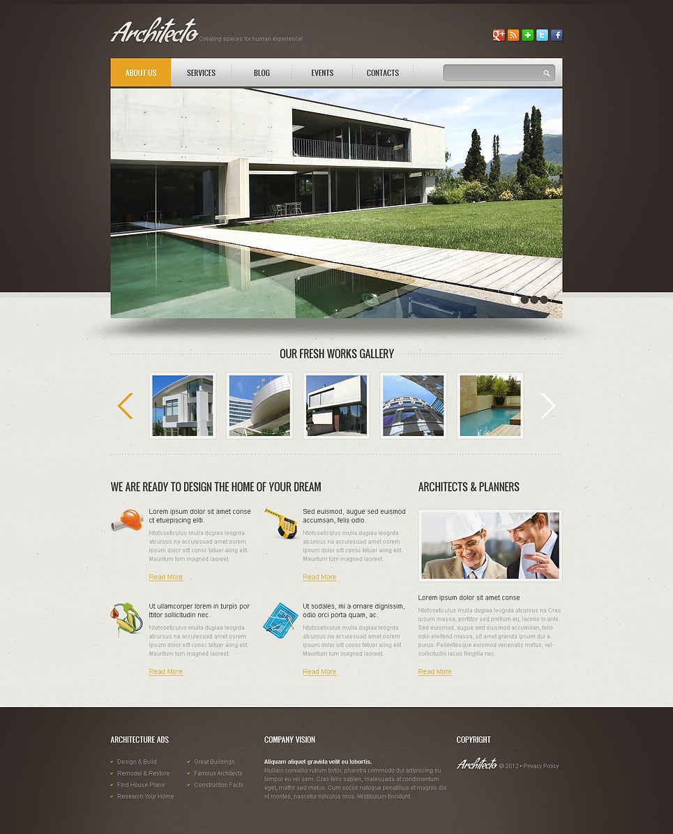 Simple construction wix website template 46256 for Simple homepage template