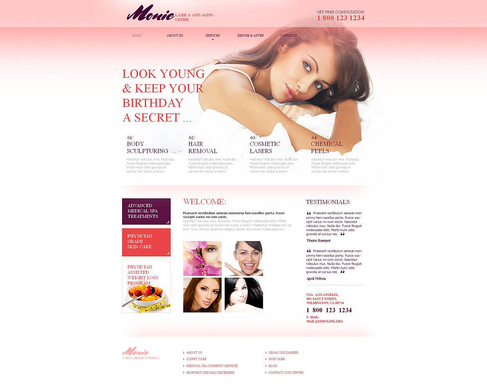 Anti-Aging Medical Clinic Website Template with Drop-Down Menu - image