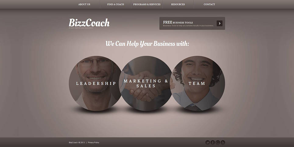 Gray Business Website Template with Circle Elements - image