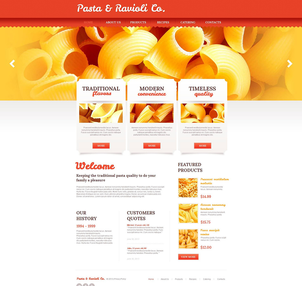 Pasta Website Template in Orange Colors - image