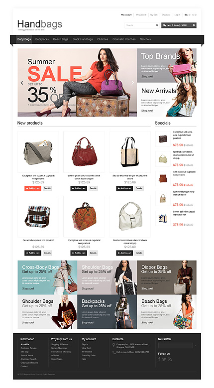 View live Demo for Handy Handbags Store - Responsive Magento Fashion Theme