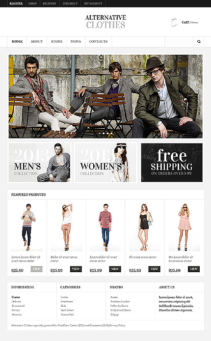 View live Demo for Apparel Store - Fully Fashion Responsive WordPress Jigoshop Theme