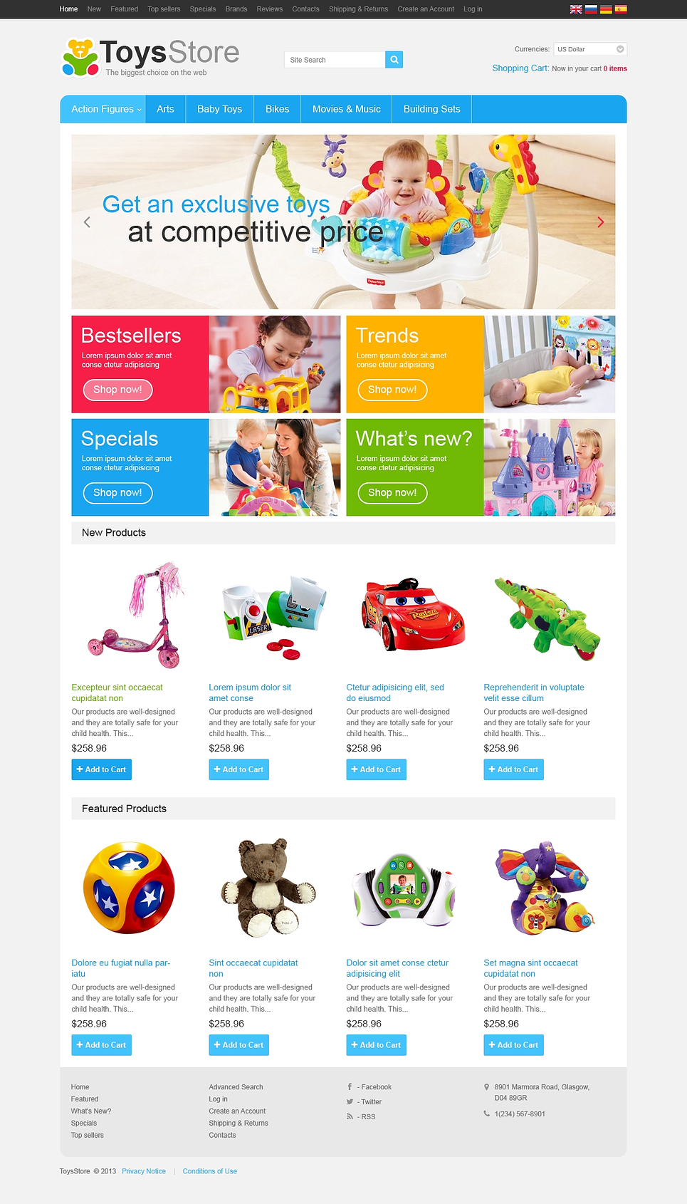 Toy Store OsCommerce Template New Screenshots BIG